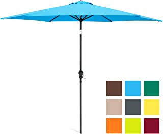 Best Choice Products 10-Foot Outdoor Table Compatible Steel Polyester Market Patio Umbrella w/Crank and Easy Push Button Tilt, Blue
