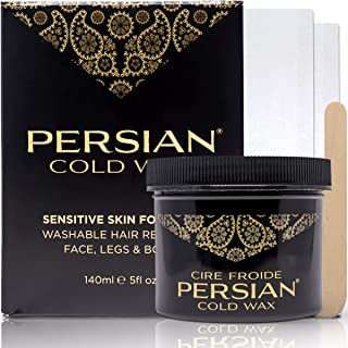 Persian Cold Wax (140 ml), Hair Removal Waxing Kit for Legs, Body, Underarms & Face, Washable with Water includes Epilation Strips & Spatulas
