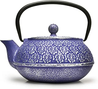 Primula Japanese Tetsubin Cast Iron Teapot with Stainless Steel Infuser for Loose Leaf Tea, Durable Construction, Enameled Interior, Blue