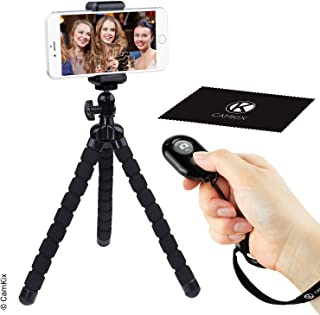 Flexible Cell Phone Tripod and Bluetooth Remote Control Camera Shutter - for iPhone, Samsung Galaxy and many more - Octopu...