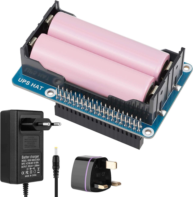Innovateking-EU Raspberry Pi USV Fuente de alimentación UPS HAT Rpi 18650 Cargador de batería Power Bank de 5 V para Raspberry Pi 4B 3B+ 3B