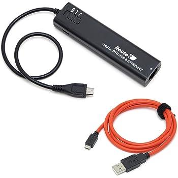 ルートアール 有線LAN搭載 3ポート充電OTGハブ microUSBケーブル1.0m RUH-OTGU3E C