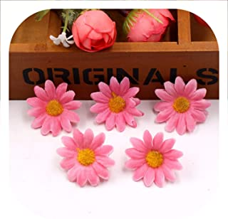 Memoirs- 10Pcs/Lot 4Cm Artificial Flowers Silk Sunflower Daisy Flower Head for Wedding Home Party Decoration DIY Wreath Fake Flowers,Deep Pink