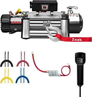 ZEAK 10000lb. Advanced Electric Power Winch, 12V DC Waterproof, for Jeep Truck Off Road Auto Galvanized Steel Rope