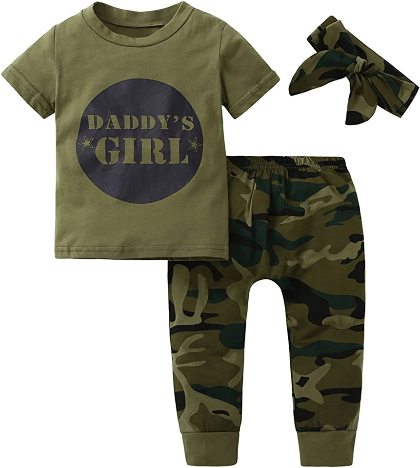 Baby Boy Girl Clothes Daddy's Boy Girl Camouflage Short Sleeve T-Shirt Tops + Green Long Pants/Trousers Outfit Set