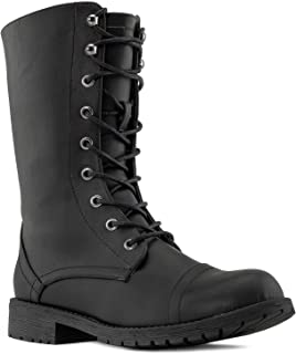 RF ROOM OF FASHION Women`s Military Combat Lace Up Ankle Biker Boots with Hidden Pocket