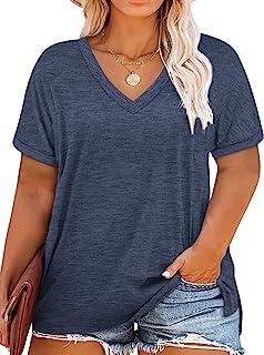Womens-Plus-Size-Tops-Summer V Neck T Shirts Side Split...