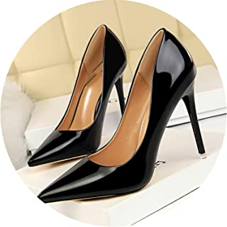HANBINGPO Shoes New Patent Leather Women Pumps Fashion Office Shoes Women Sexy High Heels Shoes Women's Wedding Shoes Party,9511-7black,8