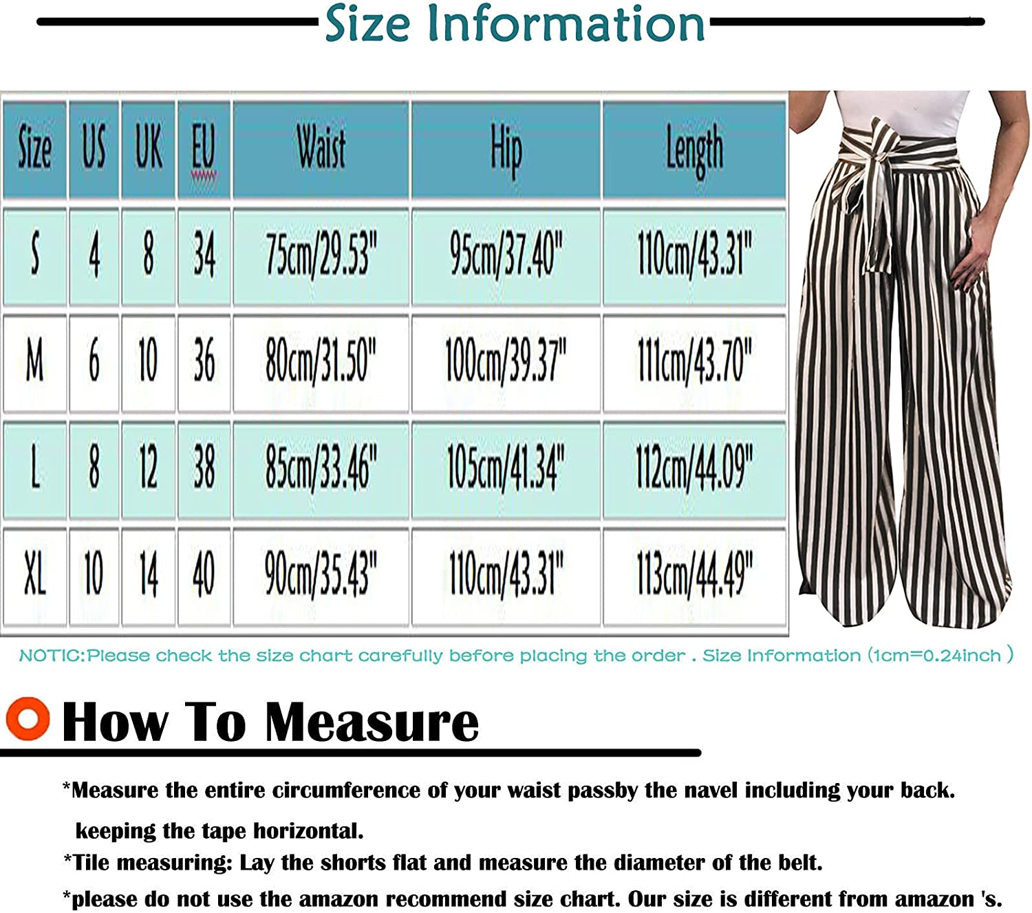 VonVonCo Flowy Pants for Women Striped High Waist Baggy Pants Bandage Elastic Waist Casual Trousers