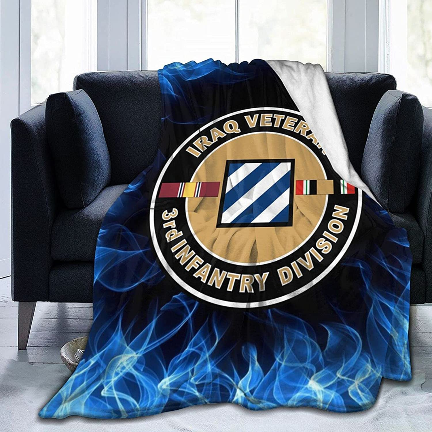 Army Iraq Veteran Colorado Springs Mall 3rd Infantry Blanket Flannel with Mili Daily bargain sale Printed