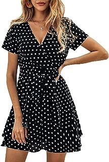 BTFBM Women V Neck Short Sleeve Polka Dot Floral Pattern A-Line Tie Belt Short Dress with Ruffle Irregular Hem