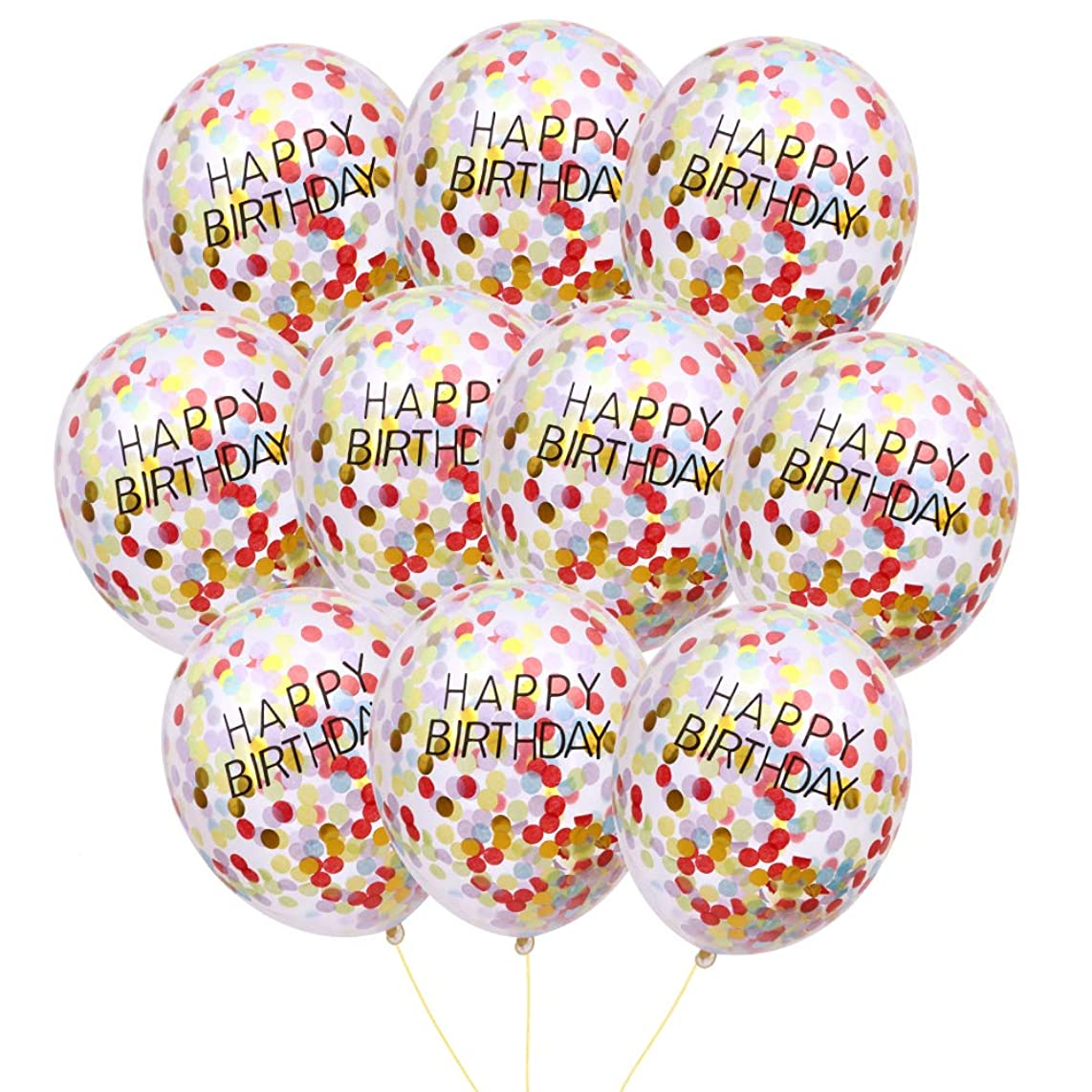 MEYSIMOON Happy Birthday Confetti Balloons Transparent Latex Balloon with Colorful Confetti Prefilled for Kids Birthday Parties Decorations (15Pcs 12inch)