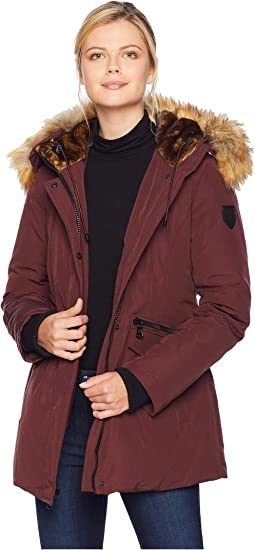 Mid Length Down Coat with Faux Fur Hood and Storm Cuff R1081