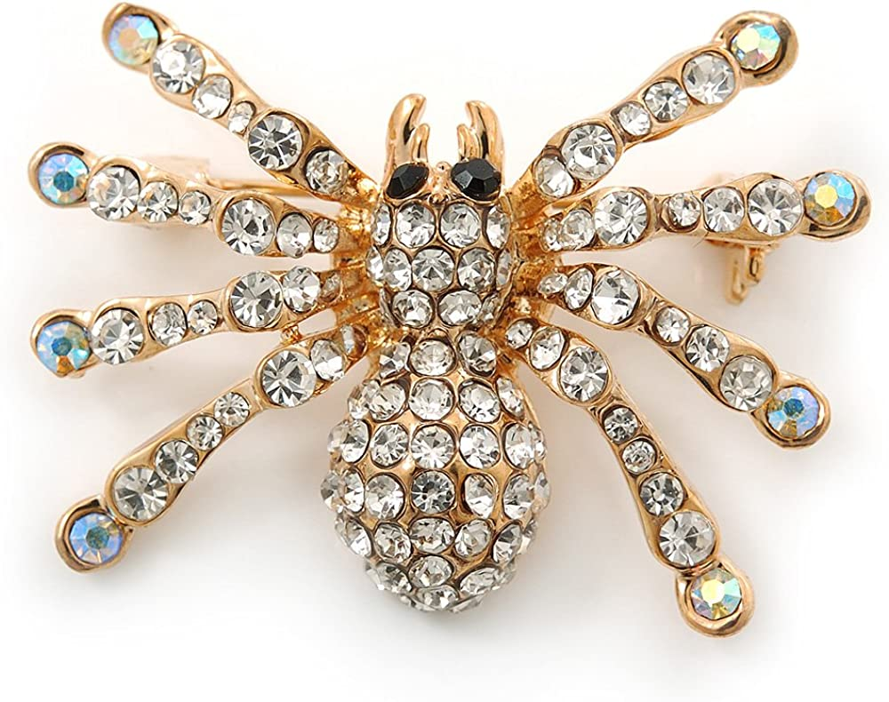 Avalaya Clear, AB Crystal Spider Brooch in Gold Plating - 37mm Width