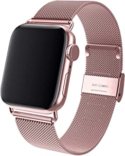 BMBMPT Sport Bands Compatible with Apple Watch 38mm 40mm Stainless Steel Mesh Replacement Band with Adjustable Closure for Watch Series 4/3/2/1 (Rose Gold, 42mm/44mm)