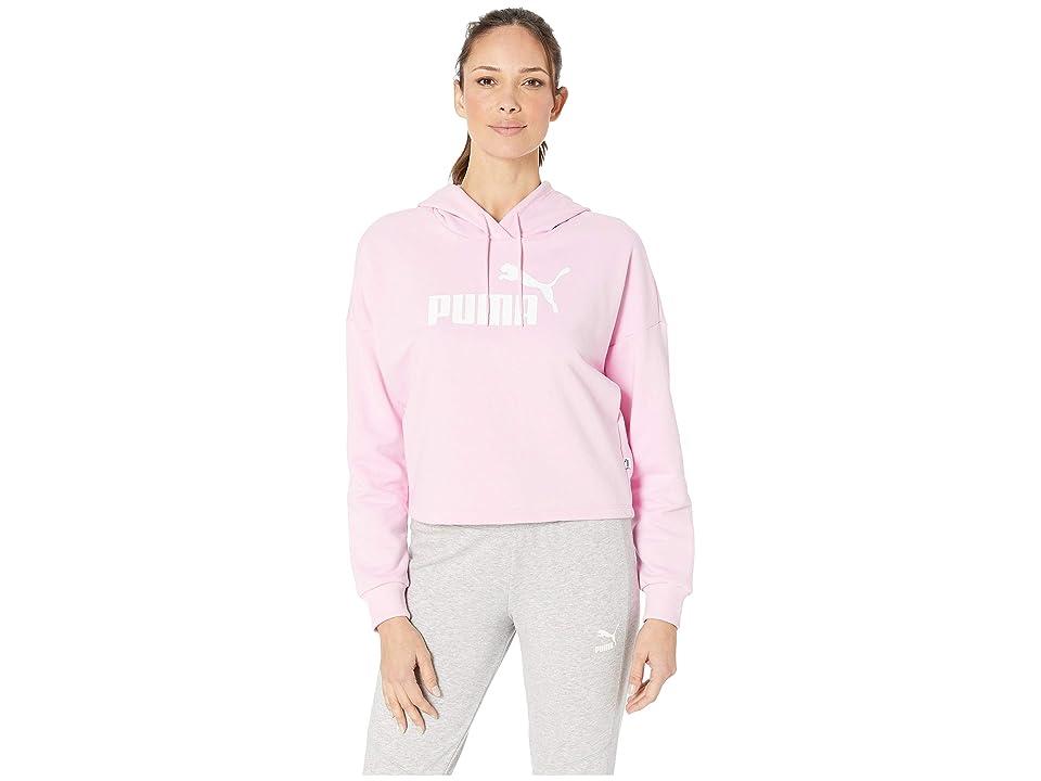 PUMA ESS+ Cropped Hoodie (Pale Pink/Puma White) Women