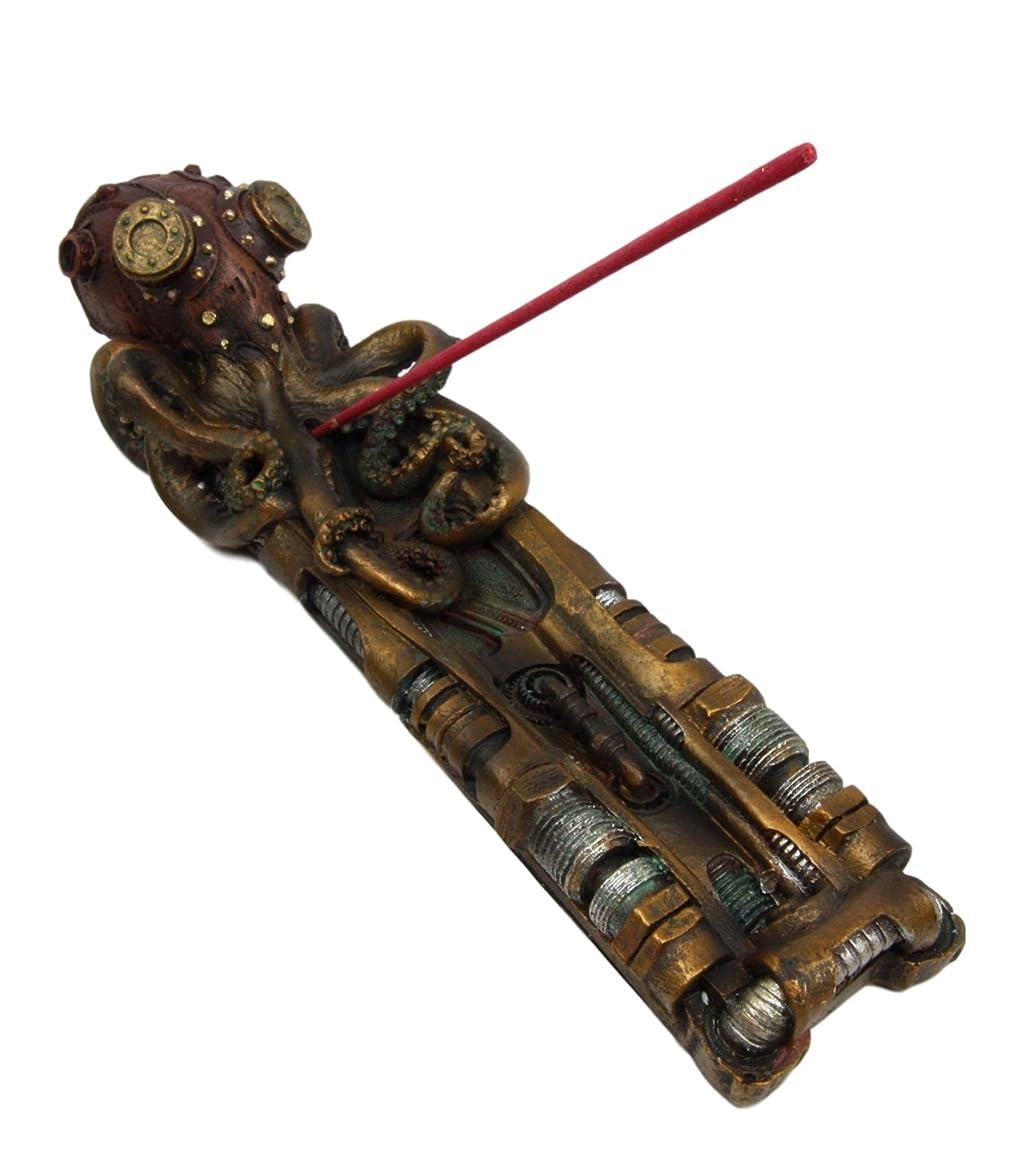 レジ憤る変更Atlantic Collectibles GiantスチームパンクKraken Octopus On RunwayプラットフォームStick Incense Burner Figurine 10.25?