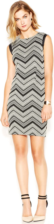 Bar III Women's Perth Faux Leather Trim Jacquard Sleeveless Dress