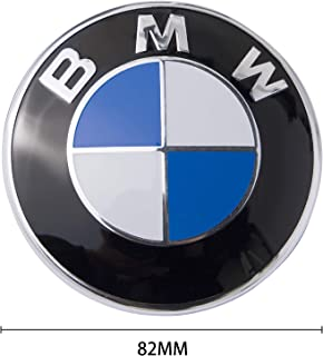 BMW Logo, BMW Emblem Replacement for BMW Hood or Trunk E30 E36 E34 E60 E65 E38 X3 X5 X6, 3-Series, 5-Series, 6-Series, 7-Series etc (82MM & 73MM) (1 Pack(82mm))