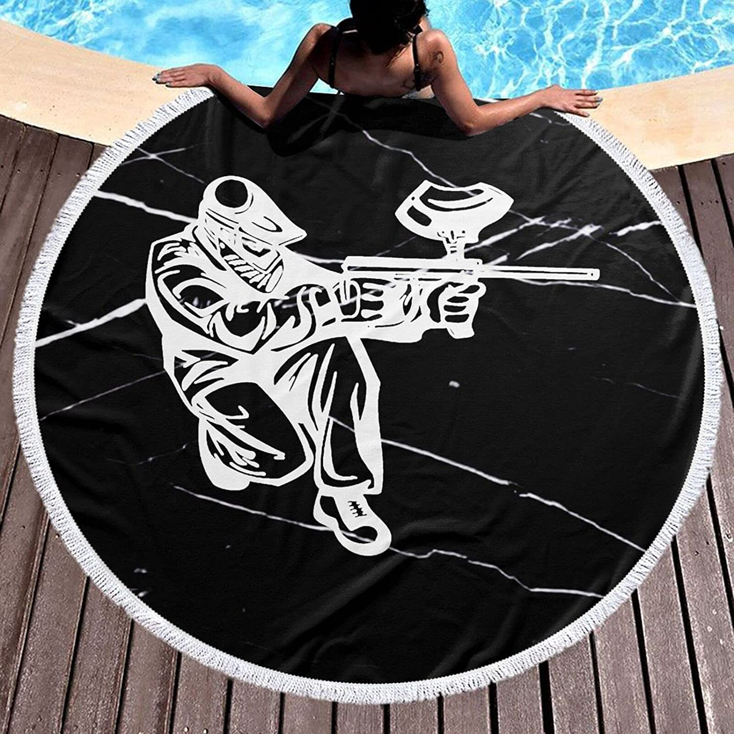 Paintball Shooter Extreme Sports Popular shop is the lowest price Washington Mall challenge Round Towel Inch Blank Beach 59
