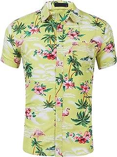 CATERTO Men's Flowers Flamingos Casual Aloha Hawaiian Shirt