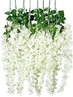Unomor 3.25 Feet Wisteria Artificial Flowers Fake Hanging Flowers Vine Garland for Wedding Decorations (8 Pcs)