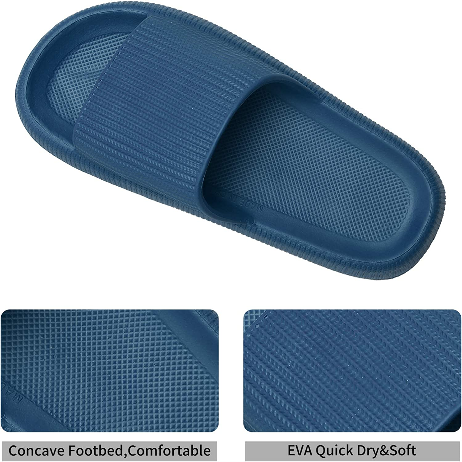 JIASUQI Slippers for Women Men Shower Quick Drying Bathroom Sandals Open Toe Soft Non-Slip Massage Pool Gym House Slipper for Indoor /& Outdoor