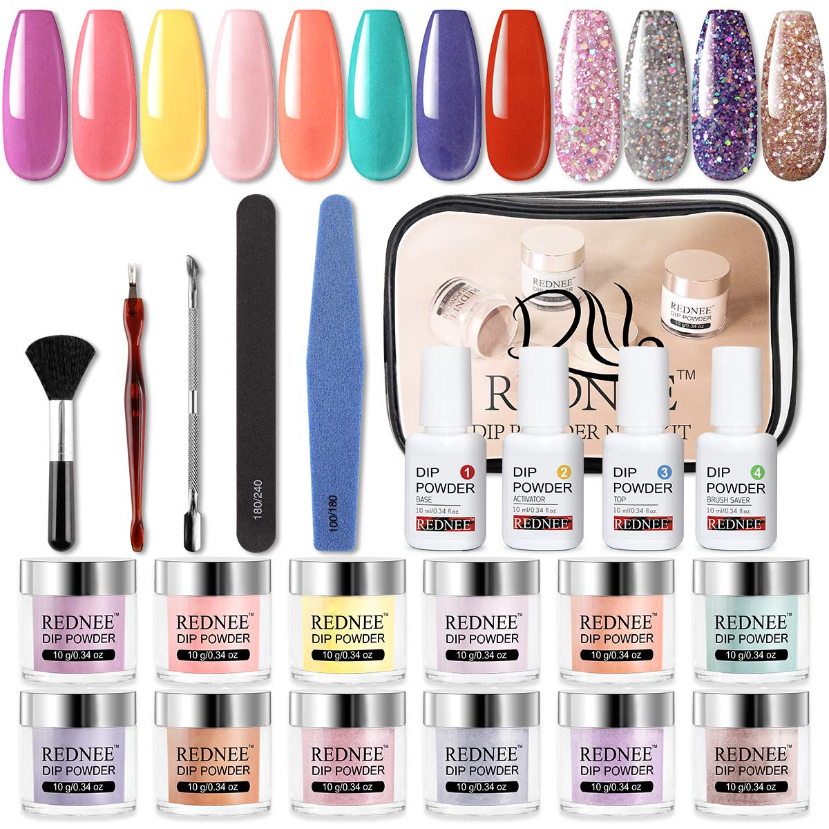 REDNEE 12+10 Dipping Powder Nail Starter Kit 12 Colors 10 Tools No Nail Lamp Needed Portable Kit for Travel - RE09 Rainbow Color