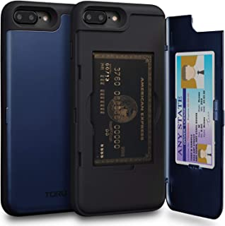 TORU CX PRO iPhone 8 Plus Wallet Case Blue with Hidden Credit Card Holder ID Slot Hard Cover & Mirror for iPhone 8 Plus/iPhone 7 Plus - Navy Blue