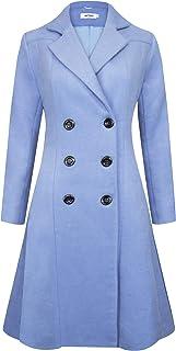 6e764c70f71 APTRO Women s Winter Wool Coat Long Pea Coat Lapel Overcoat Trench Coat