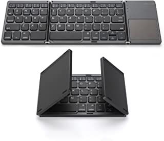 Full Size Tri-Folding Bluetooth Keyboard for Tablets,Smartphones,PC HLOIPYUR Wireless Foldable Keyboard with 3-Color Backlight