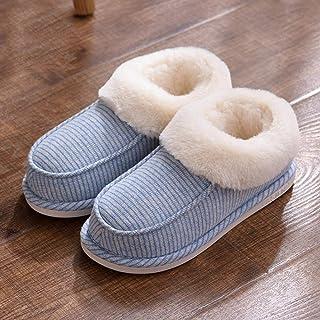 Winterhuispantoffels voor binnen en buiten,Gestreepte katoenen pantoffels, handtashak, woninginrichting met dikke zolen, a...