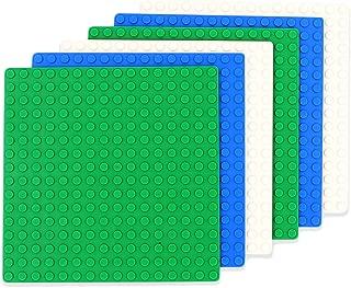 INIBUD 基礎板 ブロック プレート クラシック 互換性 16×16ポッチ グリーン ブルー ホワイト 6枚セット