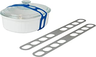 Lid Latch the reusable universal lid securing strap for crockpots, casserole dishes, pots, pans and more. Make it easy to transport your favorite dishes with one simple strap. (2 Pack Grey)