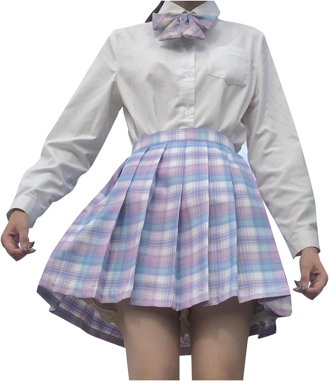 High Waist Short Skirts for Women Plaid Pleated A Line Skirt Cosplay Cheer Skirt Casual Mini School Tennis Skirts