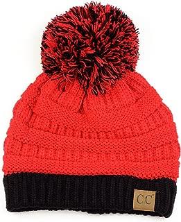 C.C Unisex College High School Team Color Two Tone Pom Pom Knit Beanie Hat
