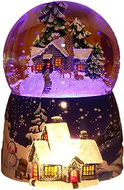 LOVOICE Boule de Neige Musicale - Maison de Neige de Noël Boule de Cristal Boîte à Musique,Noël Nouvel an Cadeaux