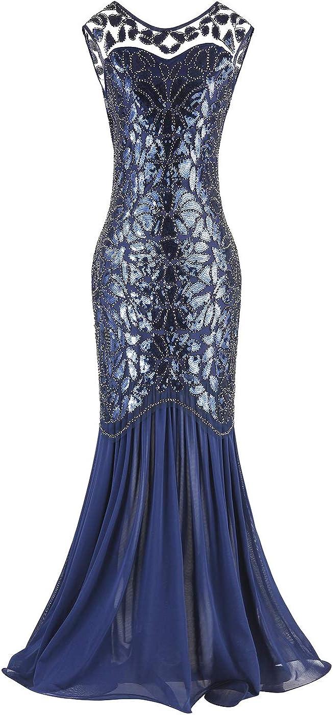 Overseas parallel import regular item FAIRY COUPLE 1920s Latest item Floor-Length Sequined Embellished Prom V-Back