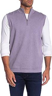 Cotton Quarter-Zip Gilet Vest, Light Purple, Large