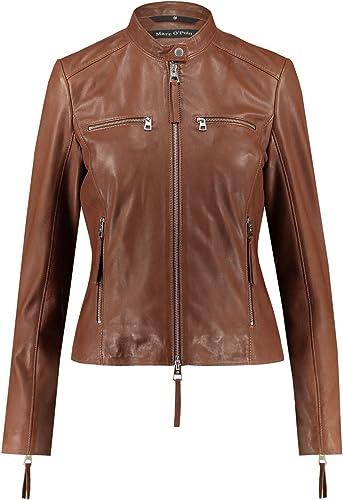 Marc O'Polo Damen Jacke Jack Leder modisches Langarmoberteil Unifarben, Größe  36, Farbe  Braun