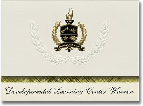 Signature-Announcements Developmental Learning Center Warren (Warren, NJ) Graduationsankündigungen, Pr dential-Packung mit Goldfarbenen und Schwarzn Metallic-Folienversiegelungen