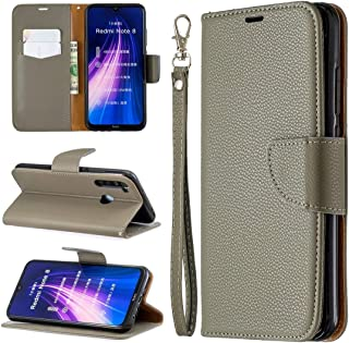 For Xiaomi Redmi Note 8 Litchi Texture Pure Color Horizontal Flip PU Leather Case with Holder & Card Slots & Wallet & Lanyard New (Dark Blue) MengT (Color : Grey)