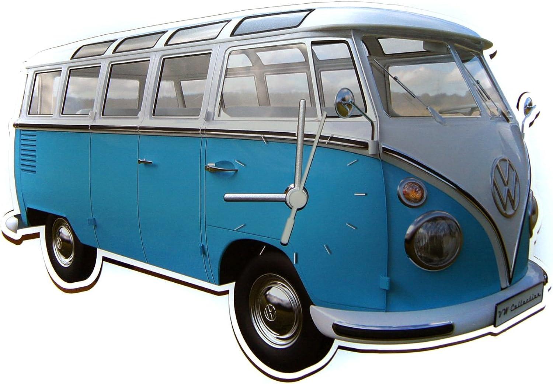 ahorrar en el despacho Original diseo diseo diseo de furgoneta Volkswagen Bulli T1 T2 Samba Bus de reloj de parojo de cocina SILOUETTE, Retro azul  en promociones de estadios