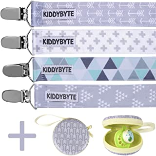 Baby Pacifier Clip with Case Holder for Boy - 4 Pack Teething Clips for Babies, Perfect for Binky, Soothie & Stuffed Animal Toys (4 Pack)