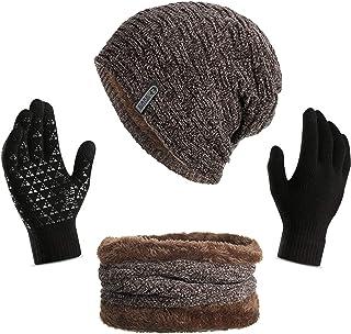 ANJUREN Women Men Hat Beanie Scarf Gloves Set 3pcs Soft Warm Winter Jacquard Cap Scarves Touch Glove Mittens