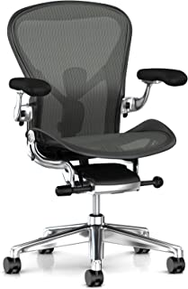 Herman Miller Aeron Ergonomic Office Chair with Tilt Limiter | Adjustable PostureFit SL and Arms | Large Size C with Graphite/Polished Aluminum Finish