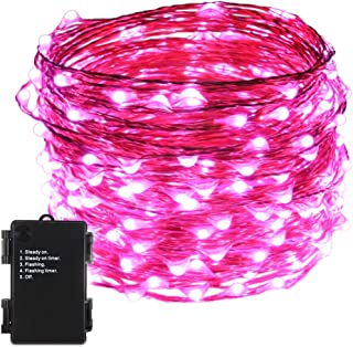 (1 Pack, Pink) - ER CHEN(TM) Indoor and Outdoor Waterproof Battery Operated 200 LED String Lights on 20m Long Ultra Thin Copper String Wire with Timer (Pink)