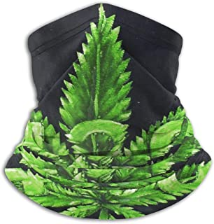 Green Marijuana Leaf Weed Pot Leaf Winter Neck Warmer Long Last Durable Face Mask Lightweight&Multi-Function Neck Gaiter Scarf Reversible Neck Heating Wrap For Cold Weather Winter Sports