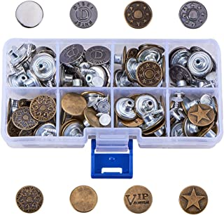PandaHall Elite 80 Sets Jeans Buttons Metal Button Tack Snap Fasteners Buttons Press Studs Replacement Kit 8 Styles with Rivets and Storage Box for Leather, Jeans, Jacket, Bags