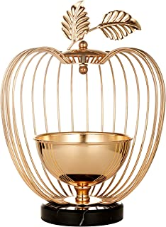 YINASI Gold Metal Wedding Bird Cage Centerpiece, Apple Shape Gift Card Holder Decorative Birdcages Candle Holder Candlestick for Small Birds Party Home Garden Indoor Outdoor Decorations